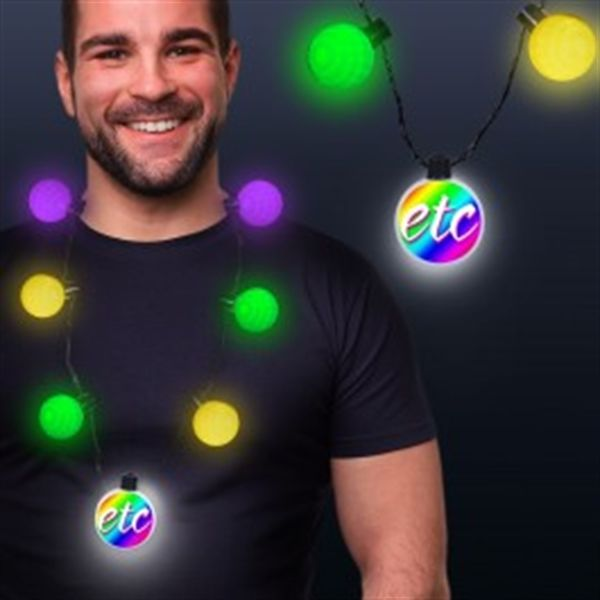 Main Product Image for Mardi Gras LED Medallion Ball Necklace