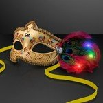 Buy Mardi Gras Mask With Led Light Up Feathers